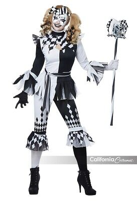 Crazy Jester Clown Adult Womens Halloween Costume 01476 (Crazy Clown Halloween-kostüm)