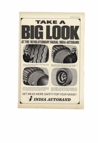 VINTAGE 1966 INDIA AUTOBAND REVOLUTIONARY RADIAL TYRE TIRE MILES SAFETY AD PRINT
