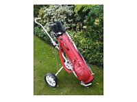Men's right handed golf clubs, trolley, bag etc