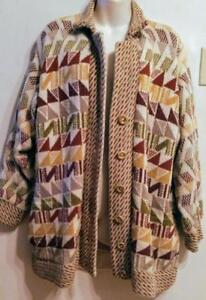 Oakville OUTDOOR SWEATER 100% WOOL Womens CARDIGAN Large 12 14 16 Fall Hand-Knit in England Vintage Retro Autumn UK