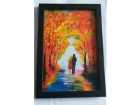Beautiful painting of couple, Framed 7 × 10 inches