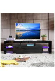 STAND tv Modern TV Unit 200cm Cabinet White Matt and White High Gloss FREE LED RGB Lights