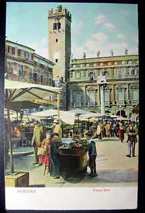 ITALY-VERONA-1900s-view-of-the-Piazza-Erbe-on-Market-day-vendor-stalls