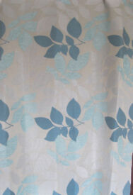 Grey and Turquoise patterned eyelet Curtains, fully lined. 72 inch drop x 54 inch wide.