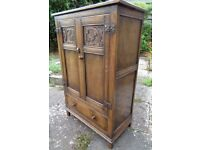 Antique Arts and Crafts Style Victorian Edwardian Carved Oak Cabinet