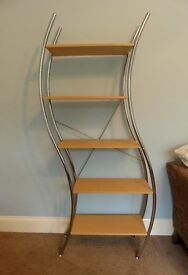"""Curved Unusual Bookcase / Shelving Unit with Five Fixed Shelves H71""""/180cm W34""""/84cm D12""""/30cm"""