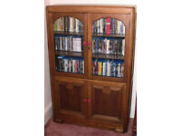 Glass Wood Cupboard for DVDS CDs Blu-Rays Video Media storage unit shabby chic
