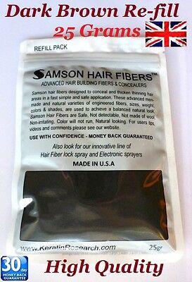 HAIR THICKENING BUILDING FIBRE - Dark Brown - HAIR LOSS CONCEALER SAMSON FIBER