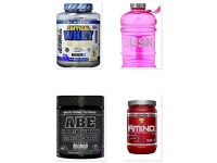 Critical whey advanced protein 2.27kg, ABE 30 servings, Amino X 30 servings and large pink bottle