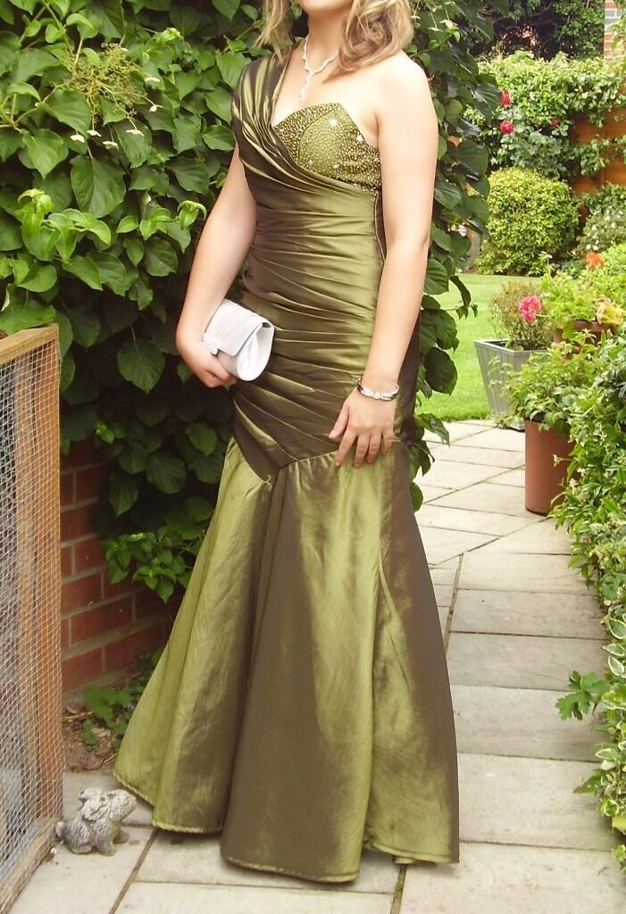 Prom Dress in Olive Greenin Kesgrave, SuffolkGumtree - Prom dress in olive green, size 10/12. Off the shoulder style with a lace up corset bodice to make for a perfect fit. top part of bodice is beaded. Has been dry cleaned
