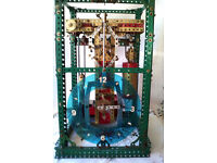MECCANO BUILT Electric Clock - Works but sold as un-tested.