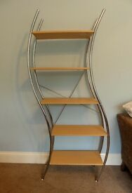 Curved Unusual Shelving Unit with Five Shelves