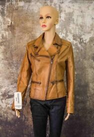 New Perfect Women's Leather Tan Brown Fitted Biker Jacket