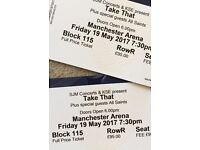 2 TAKE THAT tickets - Block 115 - Manchester 19/5/17 - FACE VALUE