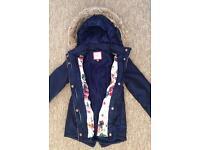 Girls TED BAKER Blue Metallic Winter Warm Coat Jacket Age 6