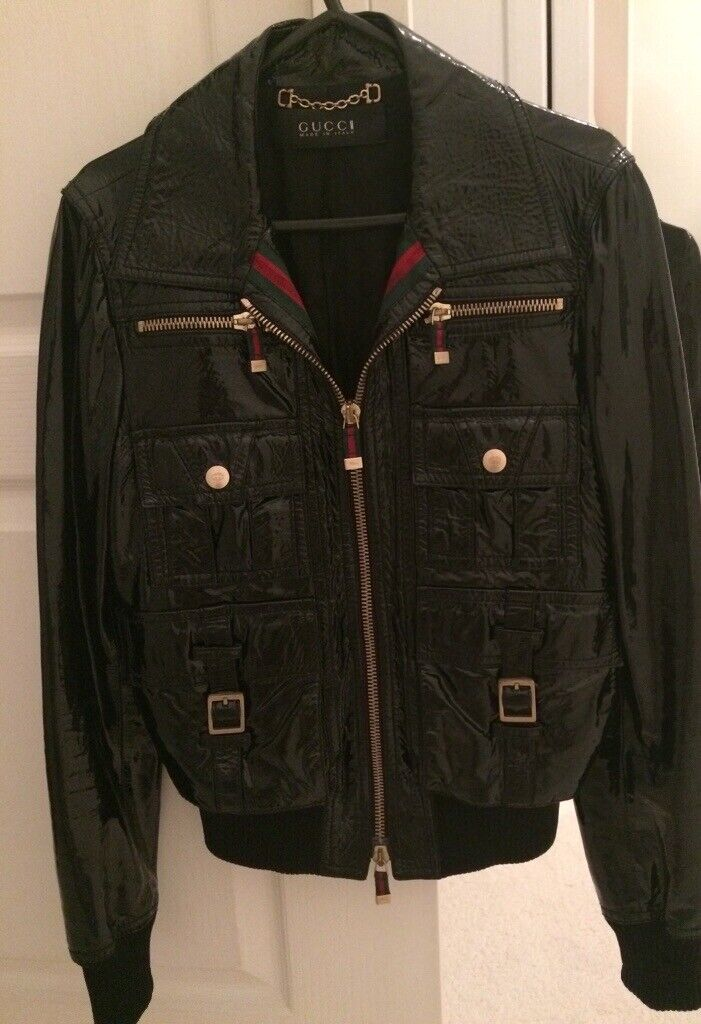 7150c1ca54 Gucci Ladies Black Patent Leather Jacket - Size 8