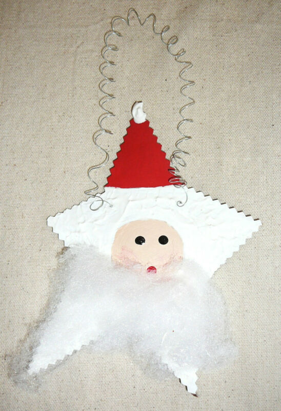 SANTA STAR ORNAMENT or HANG-UP~Handcrafted~Textured~NEW~FREE SHIP