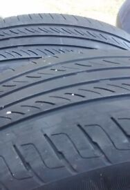 """Car tires 15"""" partly worn."""