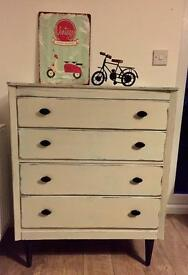 Beautiful refurbished Mediterranean style chest of drawers in duck egg and cream finish