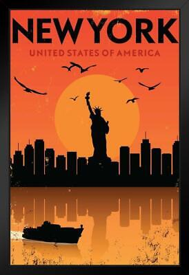 New York USA Sunset Retro Travel by ProFrames Framed Poster 12x18 New York Usa Framed
