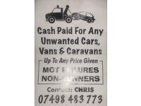 Cash paid for any unwanted cars vans and caravan