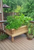 We build custom wood planters and square foot gardens