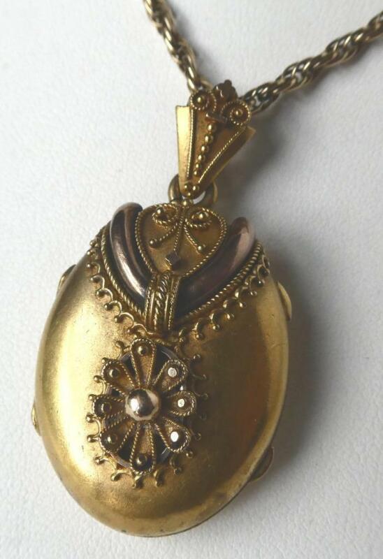 Antique 1800s Solid 18k Gold Victorian Etruscan Photo Locket Pendant Heavy 12.1g