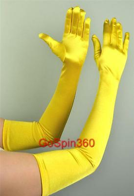 OPERA LONG Length Stretch SATIN Gloves YELLOW GOLD - Yellow Satin Gloves