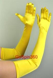 OPERA-LONG-Length-Stretch-SATIN-Gloves-YELLOW-GOLD