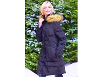 Long Tall Sally Quilted Zipped Funnel Neck Navy Blue Parka Coat with Faux Fur Hoodie.Size M.