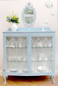 ***L@@K BARGAIN***ANTIQUE GLASS DISPLAY CABINET Hand Painted