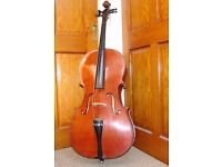 FULL SIZE 4/4 STUDENT CELLO. Boosey & Hawkes ARTIA. Complete with case and new bow.