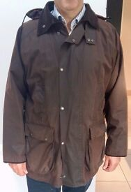 "Samuel Windsor British Waxed Cotton Brown Jacket 42"" Chest with Detachable Hood & lots of pockets"
