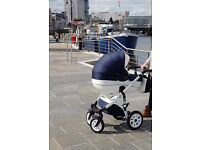 3 in 1 Navy/White leather pram for sale