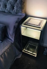 Beautiful silver light up bed side tables. Glass on top and shelf modern crushed diamond effects