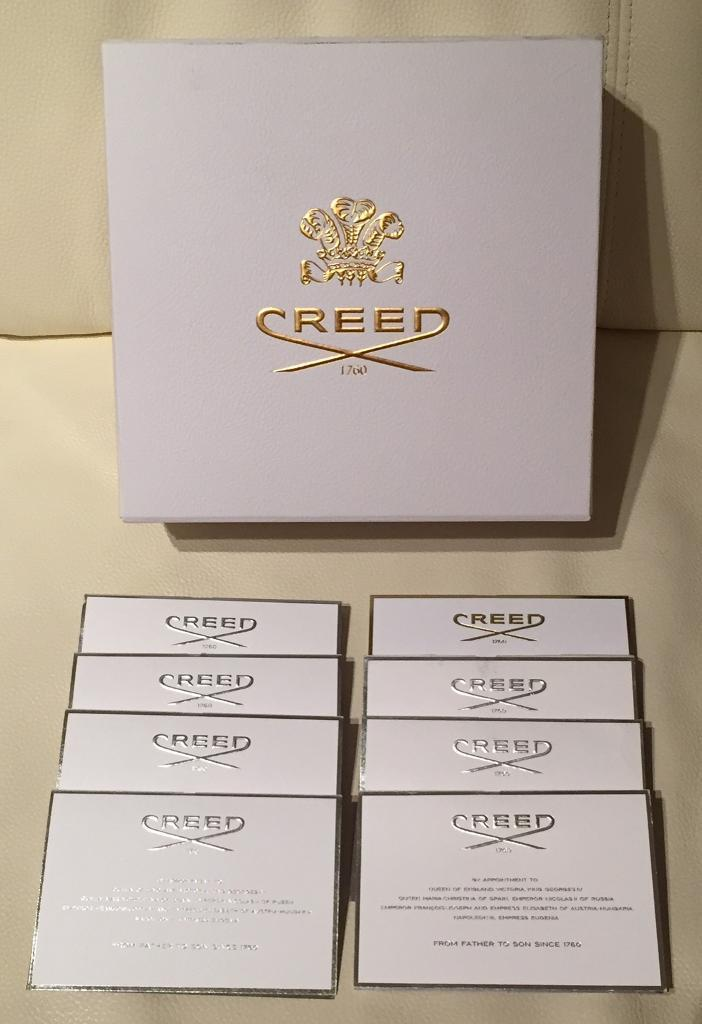 8 brand new unused 2ml Creed perfume samples. Comes in a stunning Creed presentation box