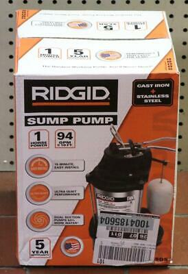New - Ridgid 1000rsds 1hp 94gpm Cast Iron Stainless Steel Sump Pump