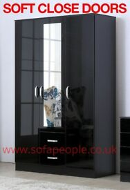 three door two drawer wardrobe, black or white wardrobes, huge discount sale price, call now