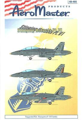 1:48 F-18 Stingin Hornet''s Pt VI 6 AeroMaster Decals Scale Model Sheet NOS 485