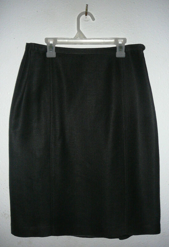 EMMA JAMES SKIRT~Black~Lined~Side Zipper~Knee Length~Miss Size 8~FREE SHIP