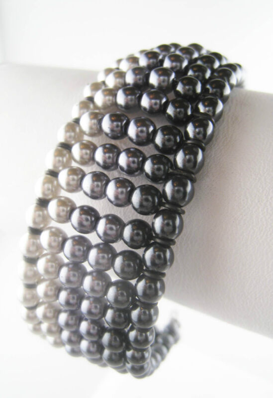Vintage Style Silver Bohemian Glass Bead Cuff Bracelet