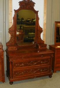 Carved-Walnut-Maple-Dresser-Chest-with-Mirror-DR57
