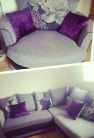 Corner couch & swivel chair for sale.
