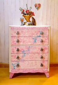Beautiful vintage chest of 5 drawers by Harris Lebus - painted pink with roses