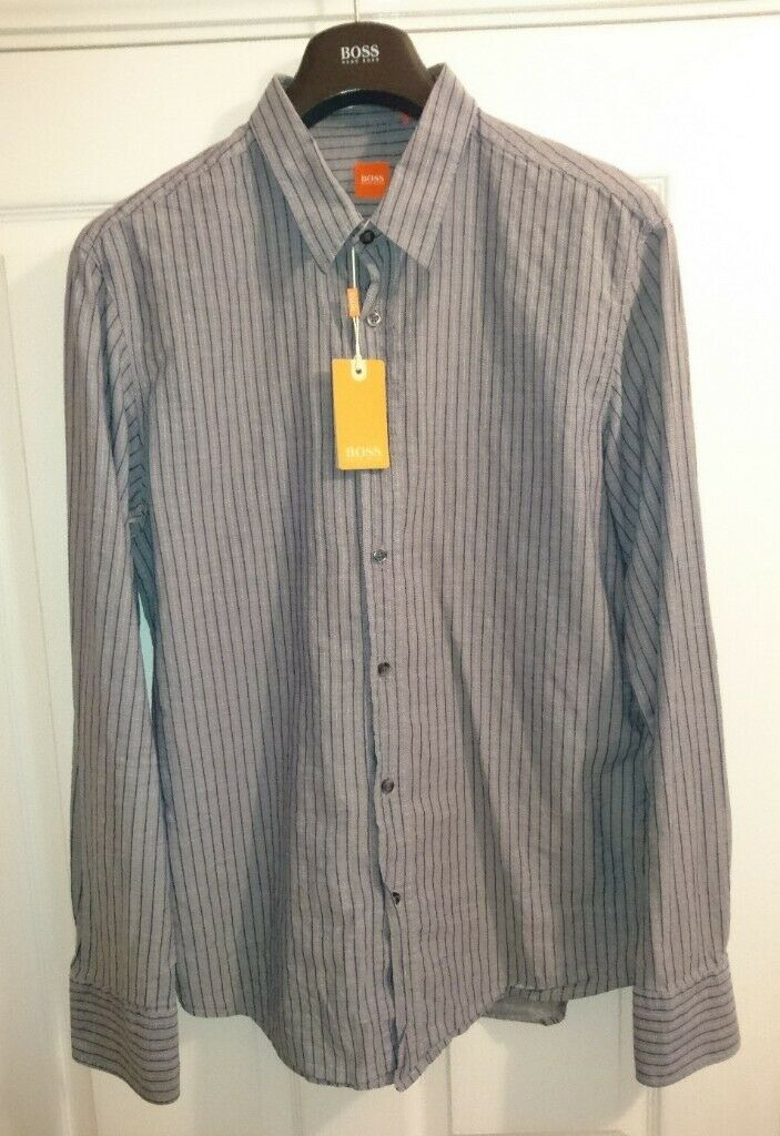 52a75ff9f Hugo Boss Orange Label Doolittle-4 Blue Stripe Shirt XL Tailored Fit Long  Sleeve As New Condition