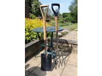 Garden fork (Spear & Jackson) and spade (John Lewis), stainless steel.