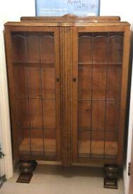 antique retro glass door book shelve shelf