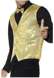 "Gold Sequin Waistcoat (Large 40-44"") brand new unopened fancy dress"
