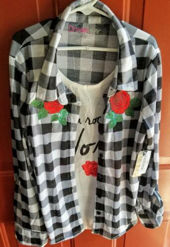 DreamStar Girls Long Sleeve Shirt Size 16 XL Plaid Black & White Rock My World