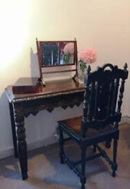 Victorian oak side/hall table with chair